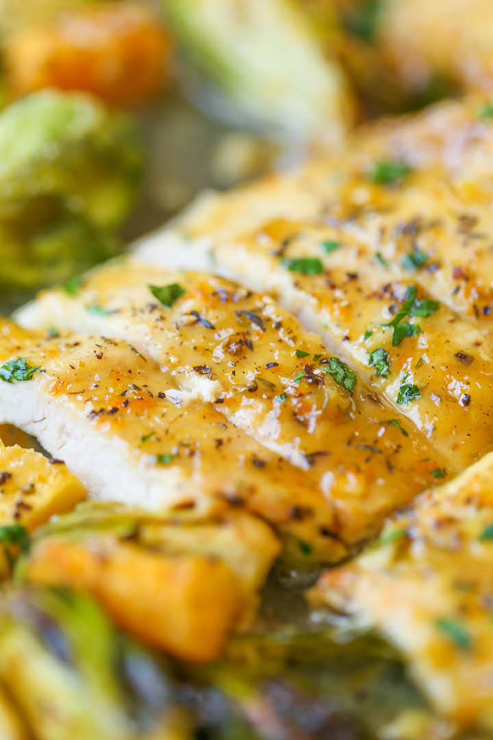 One Pan Lemon Chicken with Butternut Squash and Brussels Sprouts - An easy peasy one pan meal! And the chicken breasts come out so tender and flavorful!