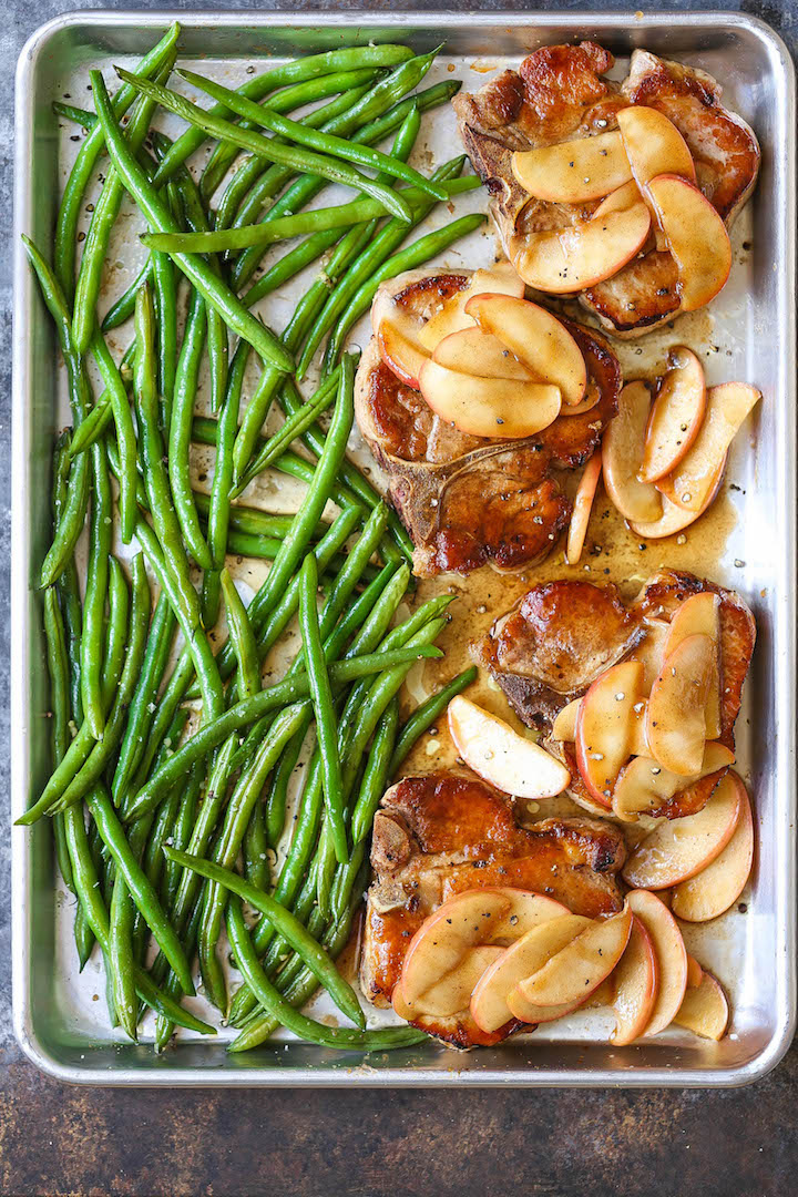 Baked Apple Pork Chops And Green Beans Damn Delicious