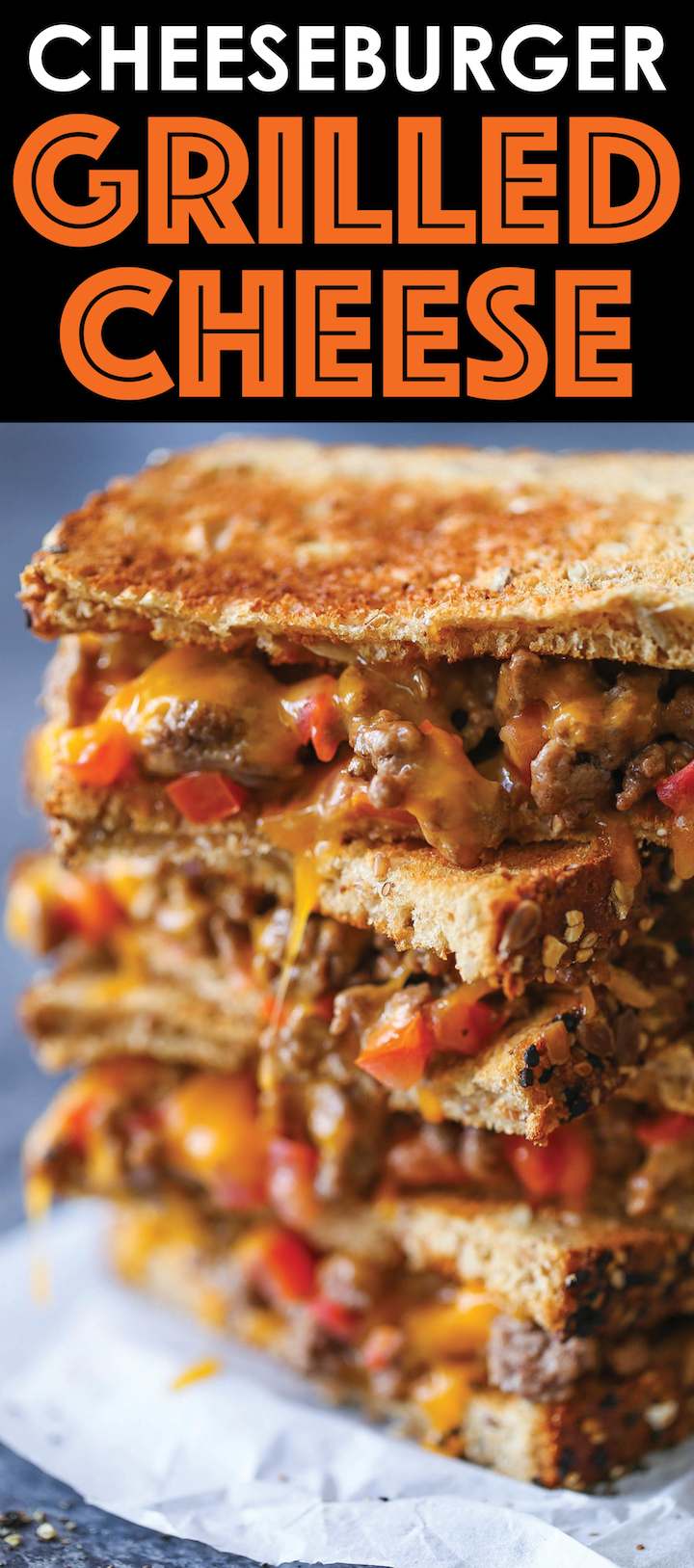 Cheeseburger Grilled Cheese - This will basically be the best grilled cheese of your life - stacked with cheesy, meaty goodness! Perfect for a quick dinner!