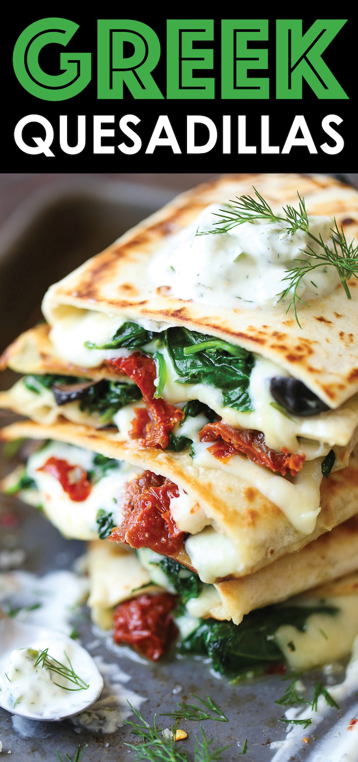 Greek Quesadillas - Mediterranean Diet Recipe