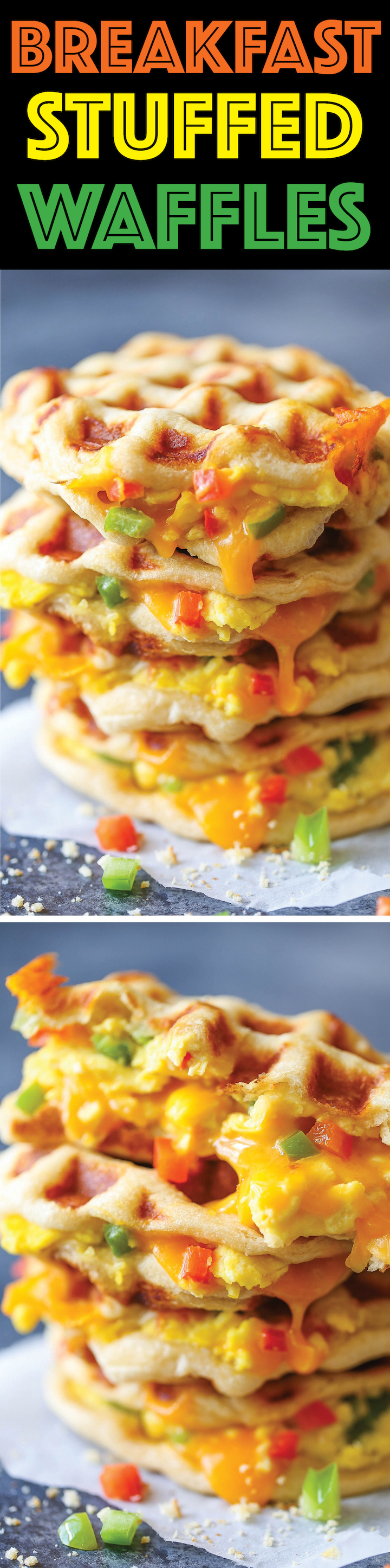Breakfast Stuffed Waffles - The most epic YET EASIEST portable breakfast. Biscuit dough is transformed into waffles, stuffed with cheesy scrambled eggs!