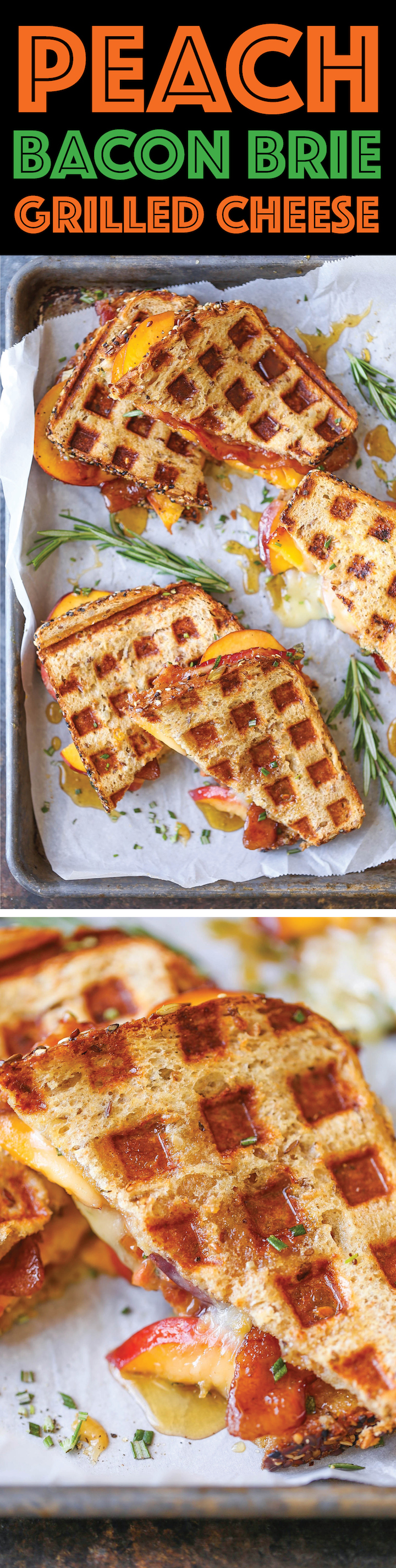 Peach Bacon Brie Grilled Cheese - Fresh peaches, peach preserves, crisp bacon and ooey gooey melted brie sandwiches made right in the waffle maker! SO EASY!