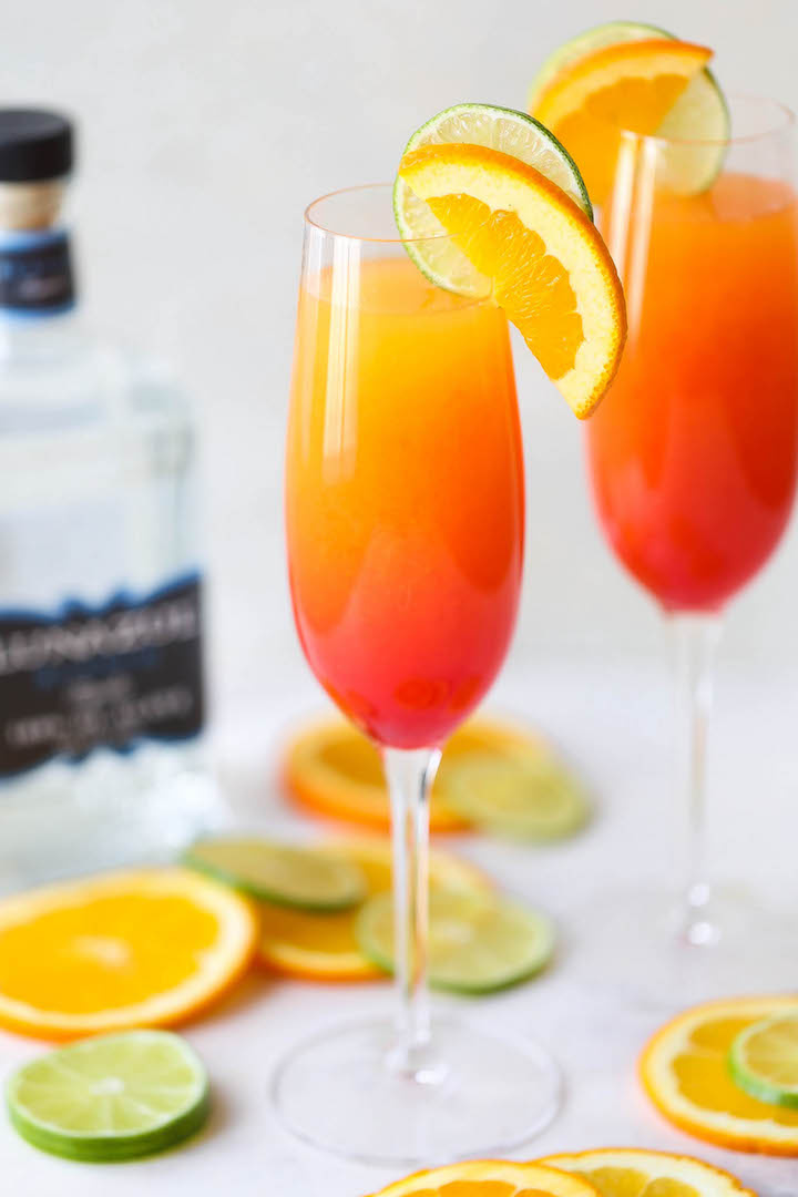 Tequila Sunrise Mimosa - Easy peasy 4-ingredient mimosas that are sure to impress everyone! Plus, you only need 5 minutes to whip this up. That's it!