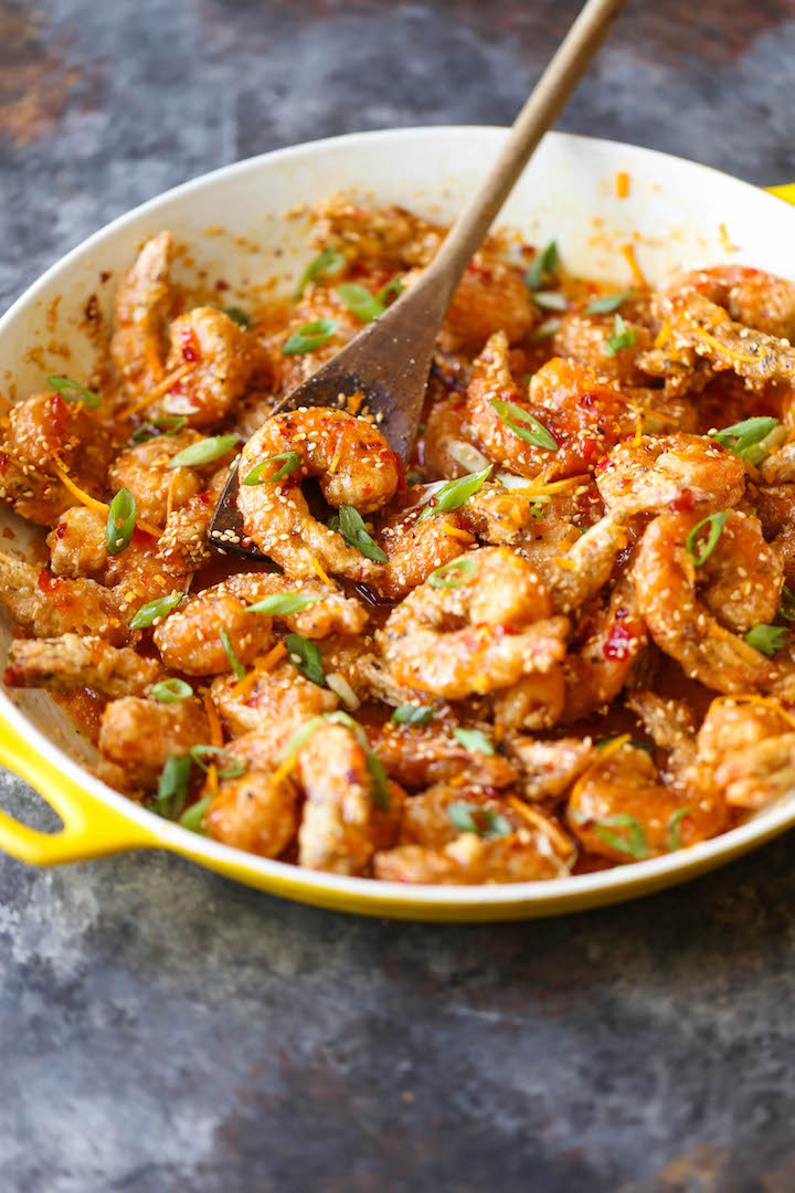 Honey Orange Firecracker Shrimp - Sweet and spicy crispy shrimp for all occasions (appetizer or main) with the most heavenly and amazing honey orange sauce!