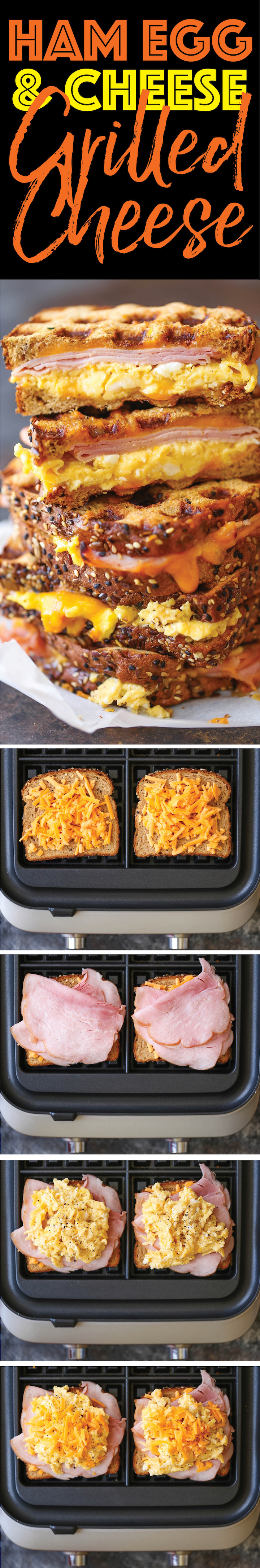 Ham Egg and Cheese Grilled Cheese - The must-have breakfast sandwich for all mornings made easily in your waffle-maker! You can make this ahead of time too!