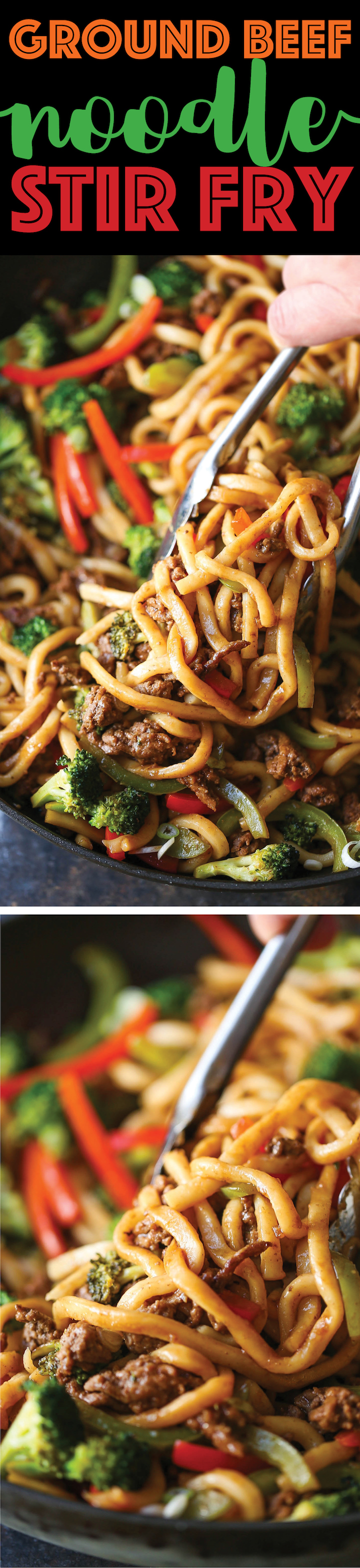 Ground Beef Noodle Stir Fry - Use up all those veggies in the easiest stir-fry of all! Quick, simple and completely customizable to what you have on hand!