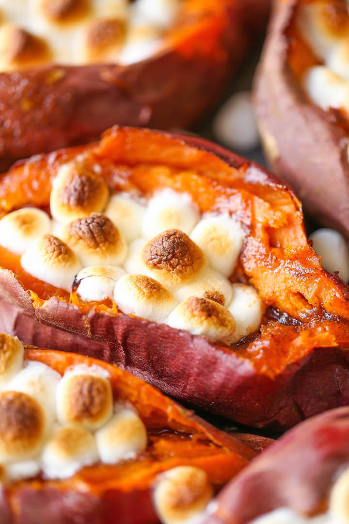 Loaded Sweet Potato - The classic Thanksgiving sweet potato casserole in individual potatoes with a fluffy marshmallow topping. Makes for such easy serving!