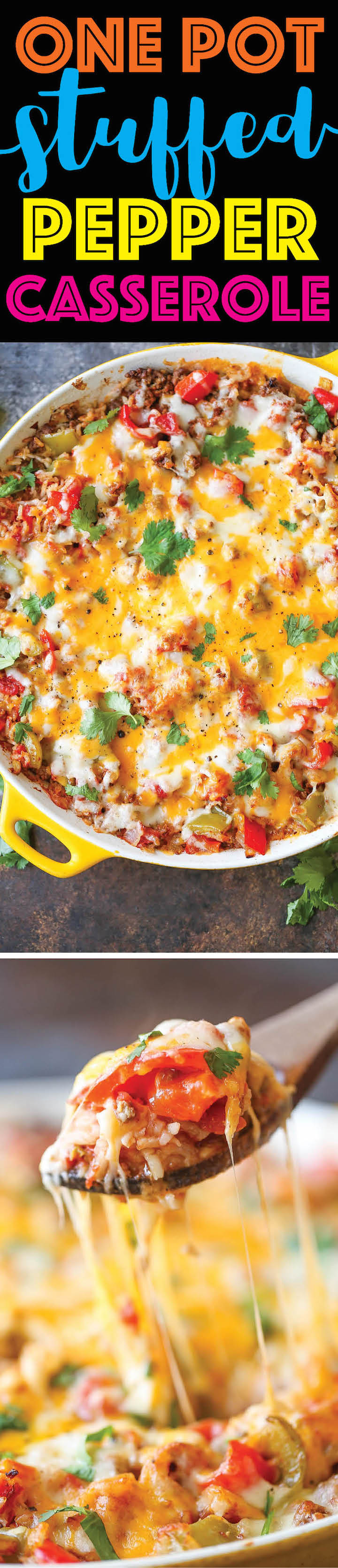 One Pot Stuffed Pepper Casserole - All the flavors of stuffed peppers without any of the fuss coming together in ONE PAN! So hearty, decadent and filling!