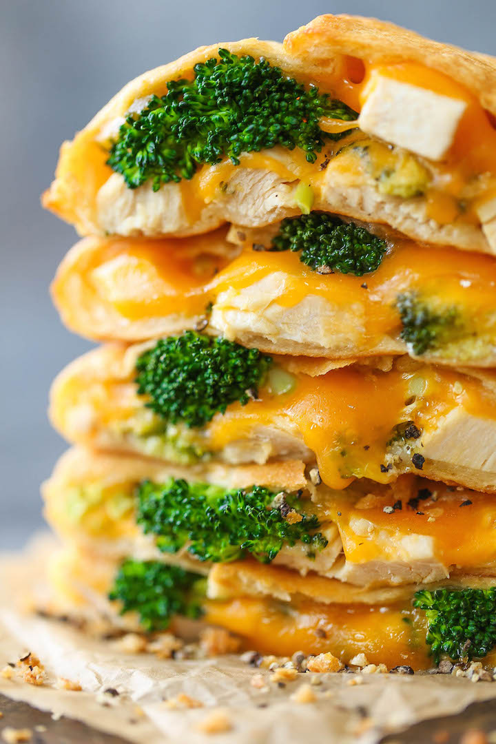 Cheesy Chicken and Broccoli Pockets - Homemade copycat hot pockets filled with ooey gooey melted cheese, chicken and broccoli. Easy and freezer-friendly!