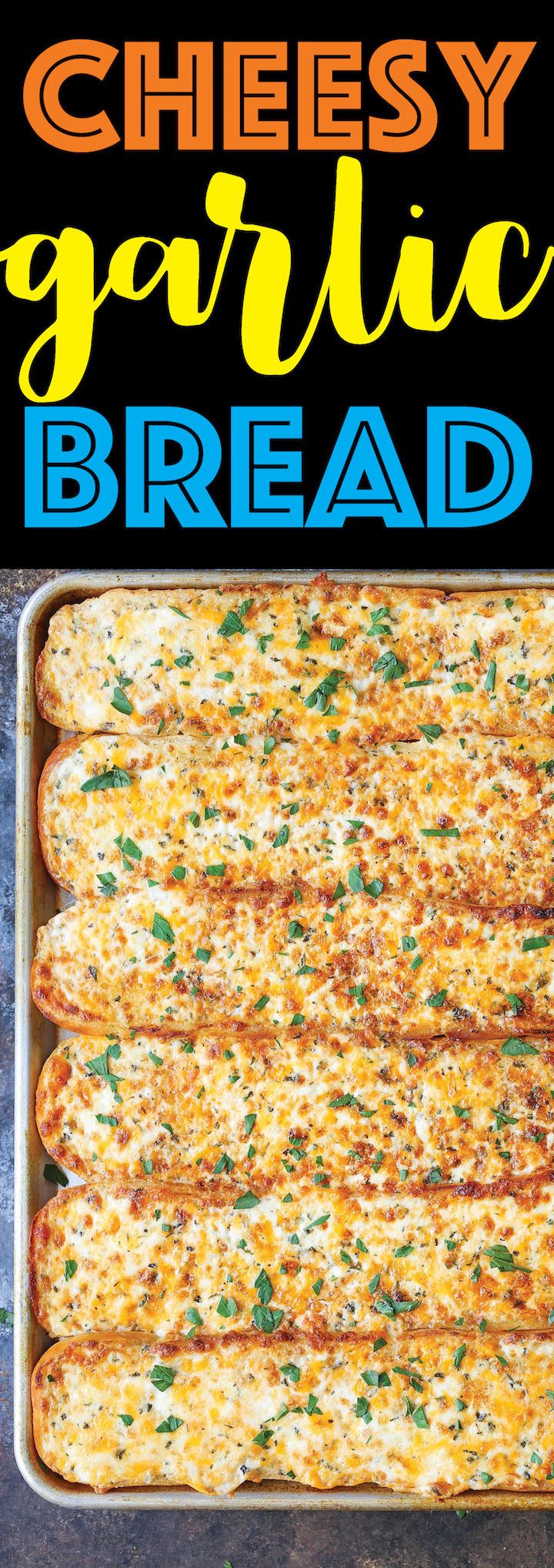 Cheesy Garlic Bread - One bite of this and everyone will beg you to make this again and again! So cheesy, so ooey gooey and so melt-in-your-mouth AH-MAZING!