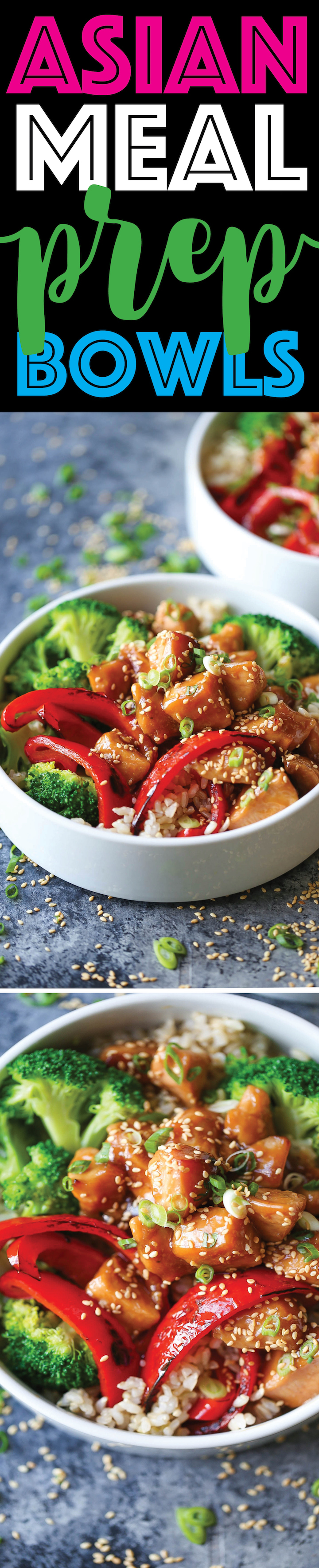 Asian Meal Prep Bowls -Meal prep for the entire week with teriyaki chicken, broccoli, bell pepper and brown rice. The sauce is also completely homemade!