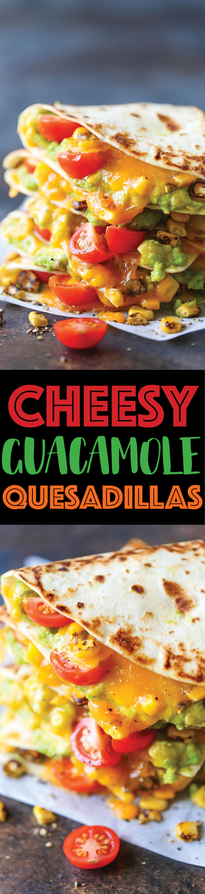 Guacamole Quesadillas - A quick go-to meal with only 5 ingredients! This can be served as an appetizer, side, light lunch or even a main! Sure to be a hit!