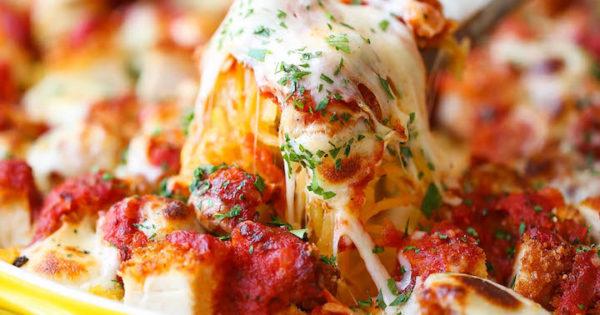 Spaghetti Squash Chicken Parmesan Damn Delicious