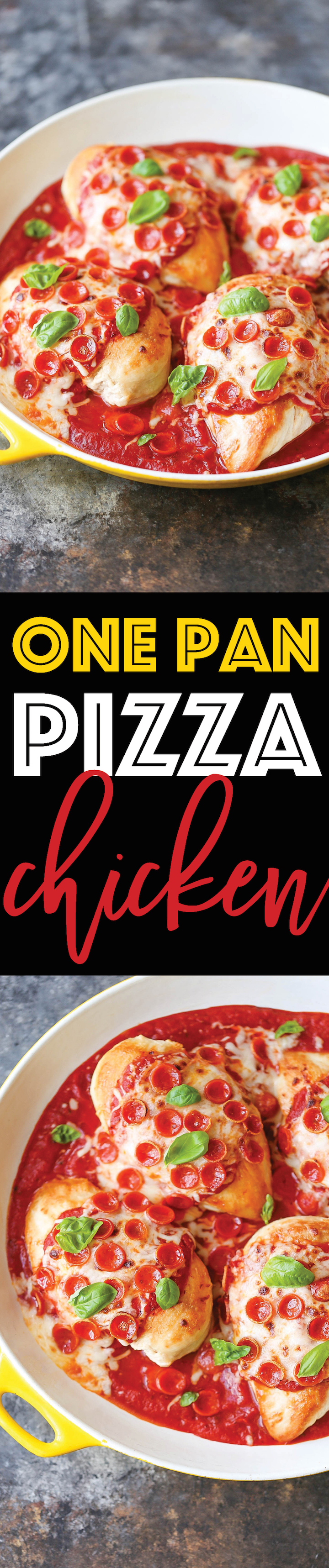 One Pan Pizza Chicken - Win win chicken dinner! A ONE PAN meal. And it's a LOW CARB cheesy goodness meal for the whole family to enjoy on a busy weeknight!