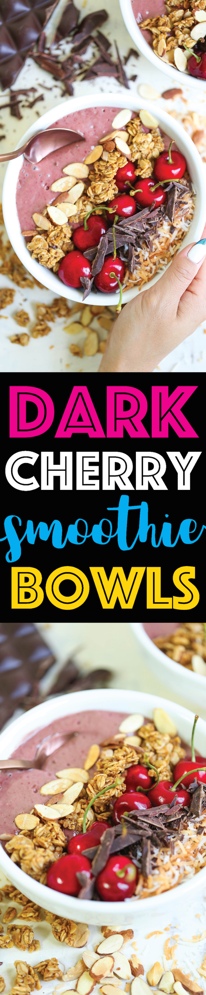 Dark Cherry Smoothie Bowls - A less-than-10-minute breakfast that hasn't been any easier, healthier or quicker! Nutrient-rich and budget-friendly!!!