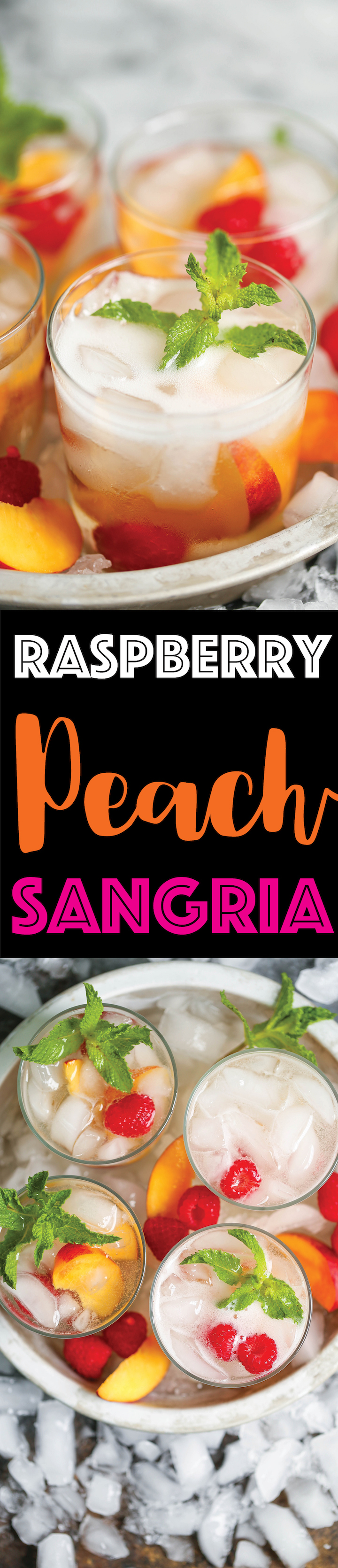 Raspberry Peach Sangria - The perfect make-ahead cocktail for any occasion! Takes literally just 5 min! Let chill and serve with sparkling wine. That's it!