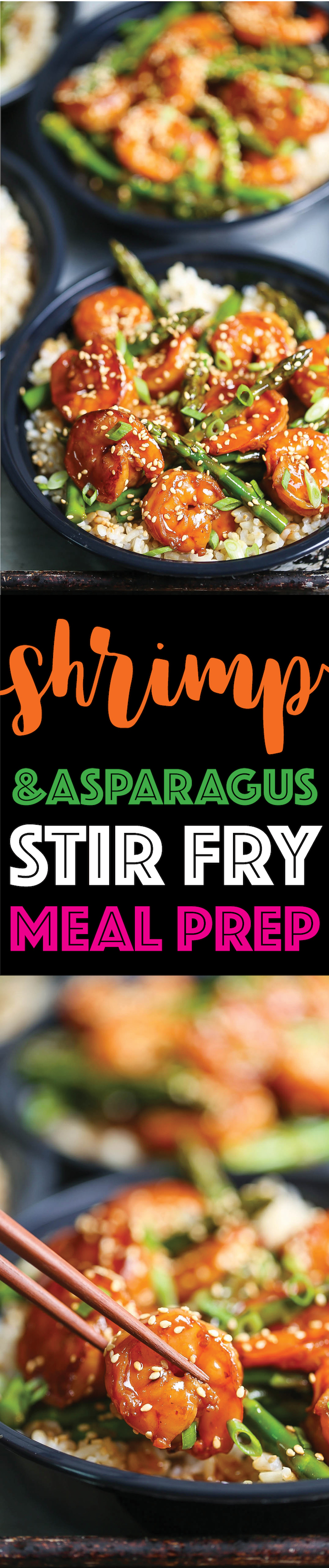 Shrimp and Asparagus Stir Fry Meal Prep - An easy stir fry that you can quickly prep ahead of time for the whole week! Simply add brown rice and you're set!
