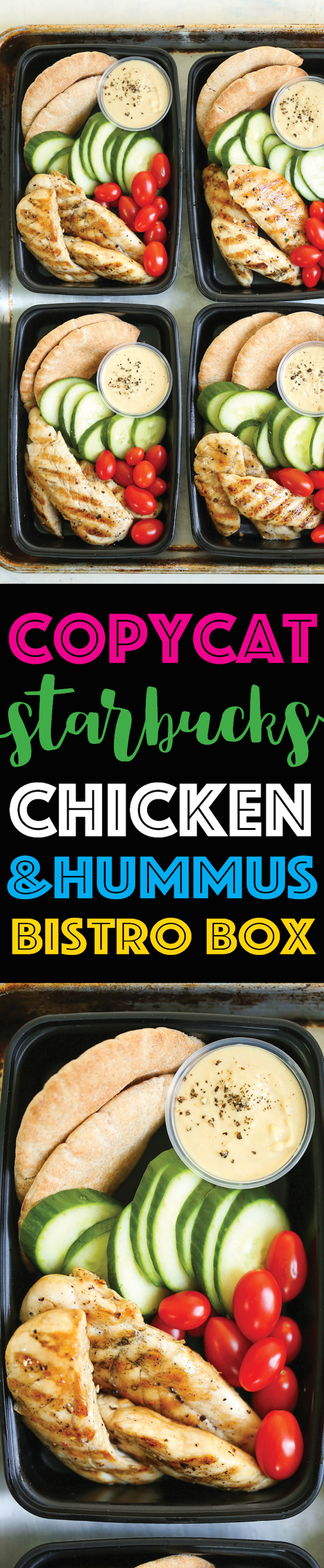 Copycat Starbucks Chicken and Hummus Bistro Box -Meal prep for the week ahead!!! Filled with hummus, chicken strips, cucumber, tomatoes and wheat pita.