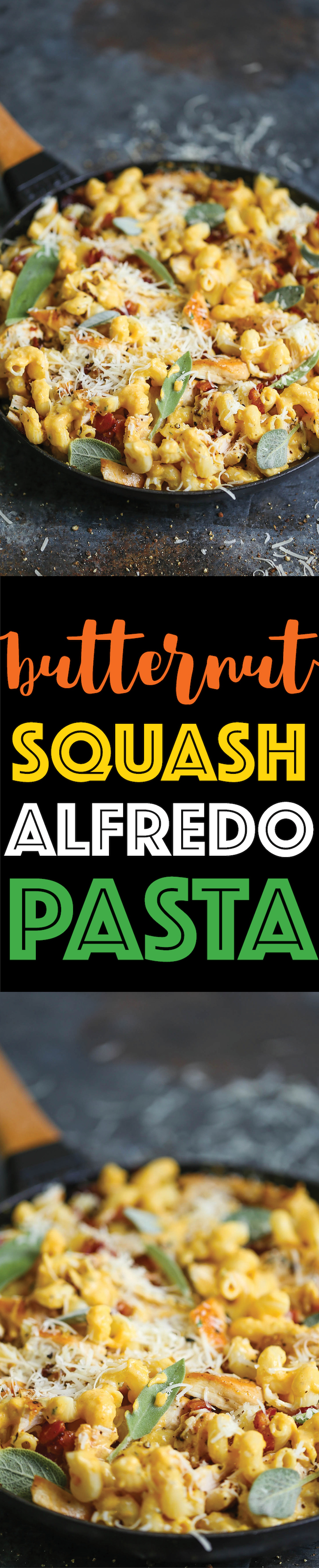Butternut Squash Alfredo Pasta - Is there anything more cozy in the middle of Fall? And this alfredo sauce is made completely FROM SCRATCH in less than 30!