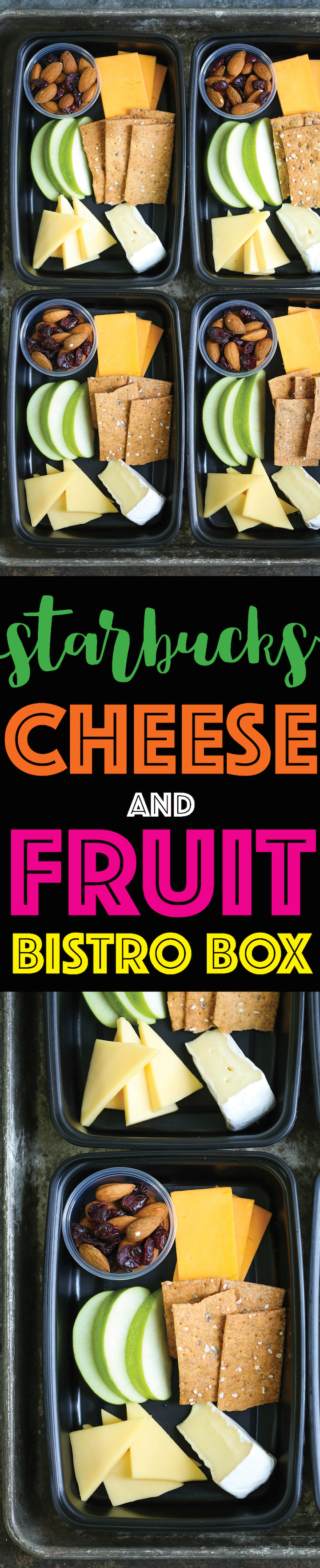 Copycat Starbucks Cheese and Fruit Bistro Box - Prep for the week ahead! Perfect to refuel and snack with cheese, crackers, apples, cranberries and almonds!