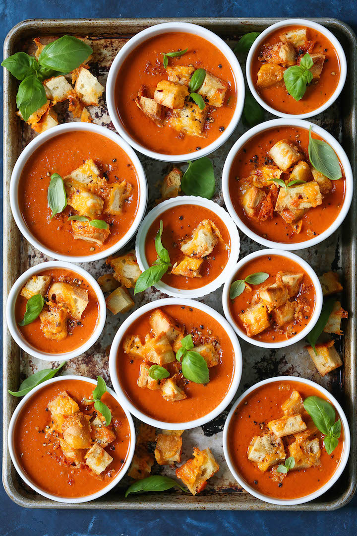 Slow Cooker Tomato Basil Soup - Simply add all your ingredients into a crockpot. So creamy, comforting and EASY! Served with parmesan cheddar croutons!!!