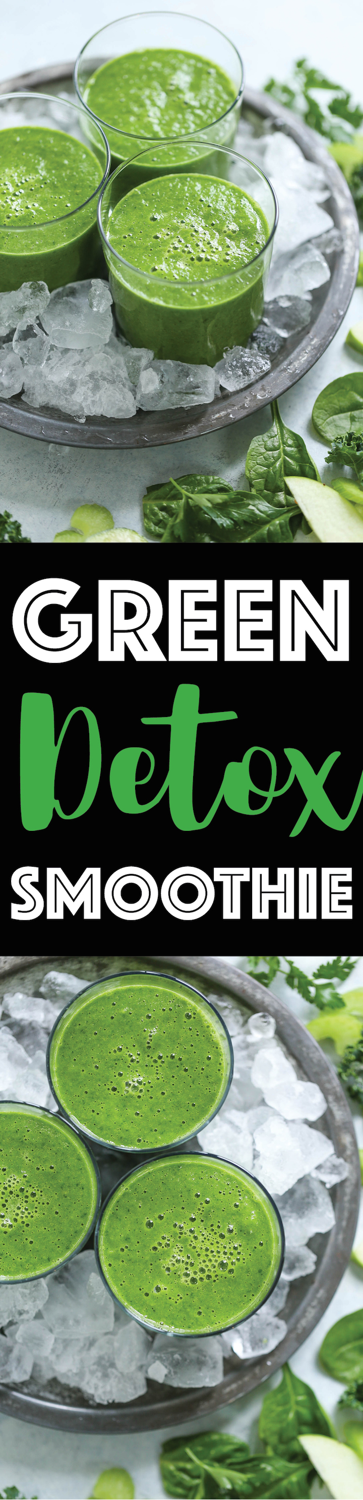 Green Detox Smoothie - Feel your best with this healthy, nutrient-rich, bikini-ready green smoothie! Loaded with powerful superfoods like spinach and kale, celery, apple, banana and ginger! Just 136 calories per serving.