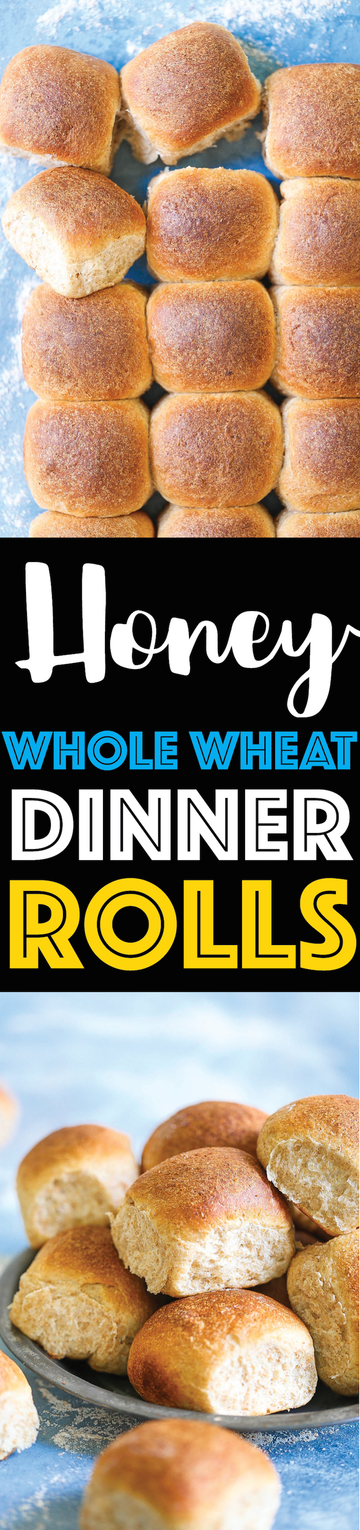 Honey Whole Wheat Dinner Rolls - So soft, fluffy and perfectly golden brown! These may just be the BEST dinner rolls you will ever have! And these are so much healthier than the traditional dinner rolls. Win-win situation here!