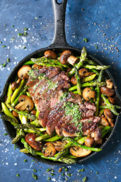 One Pan Steak and Veggies with Garlic Herb Buttery Spread