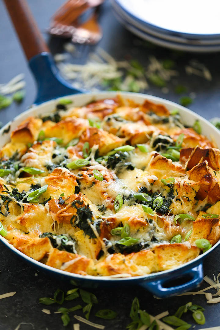 Spinach and Cheese Strata - The quickest, easiest (and cheapest, really), make-ahead savory bread pudding! Perfect for brunch get-togethers or even as a lazy dinner option. You can really have it for any time of the day!