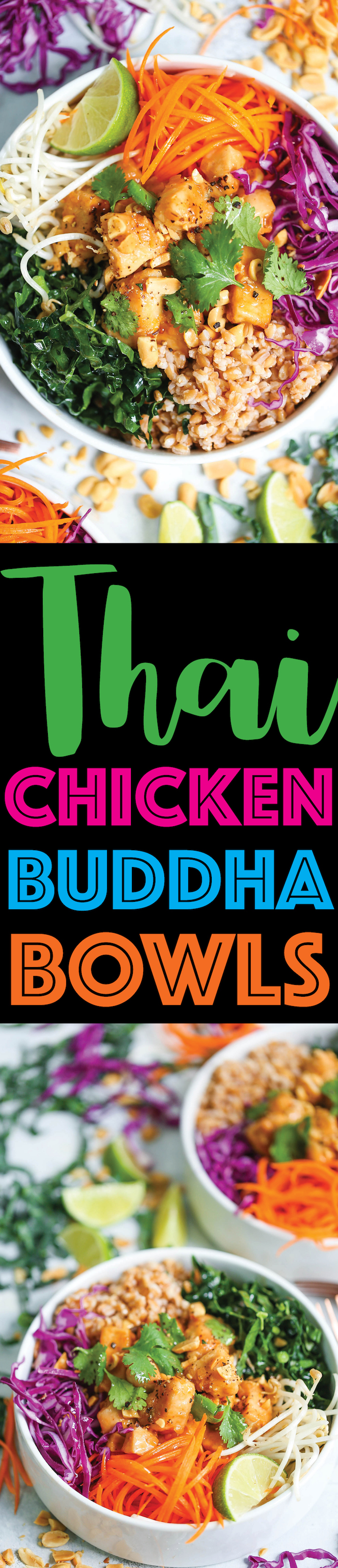 Thai Chicken Buddha Bowls -Healthy, hearty and nutritious bowls filled with whole grains, plenty of veggies, and a simple peanut sauce that is absolutely to die for!
