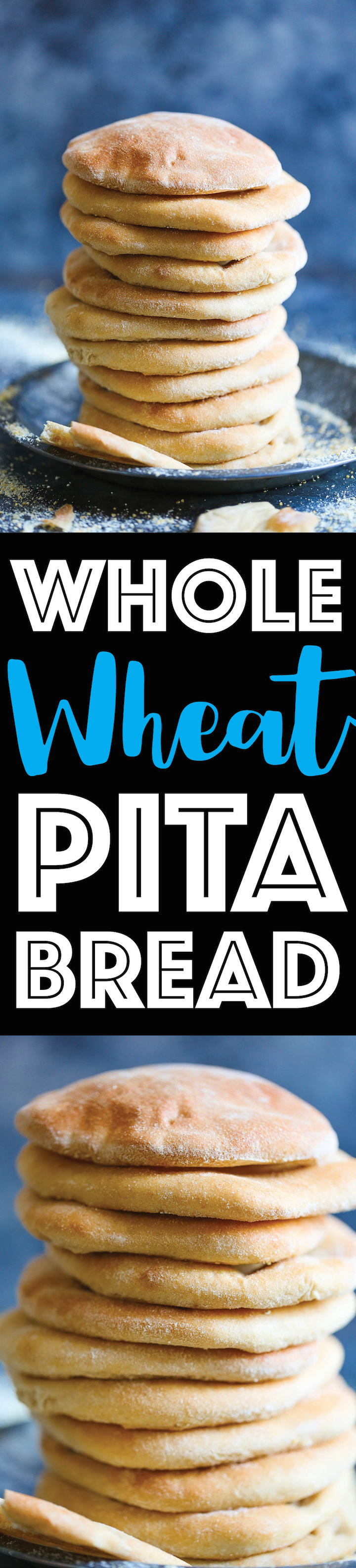 Whole Wheat Pita Bread - There really is nothing better than homemade pita bread. It is so much healthier and it is unbelievably soft and fluffy. You will never want store-bought pita bread EVER AGAIN!