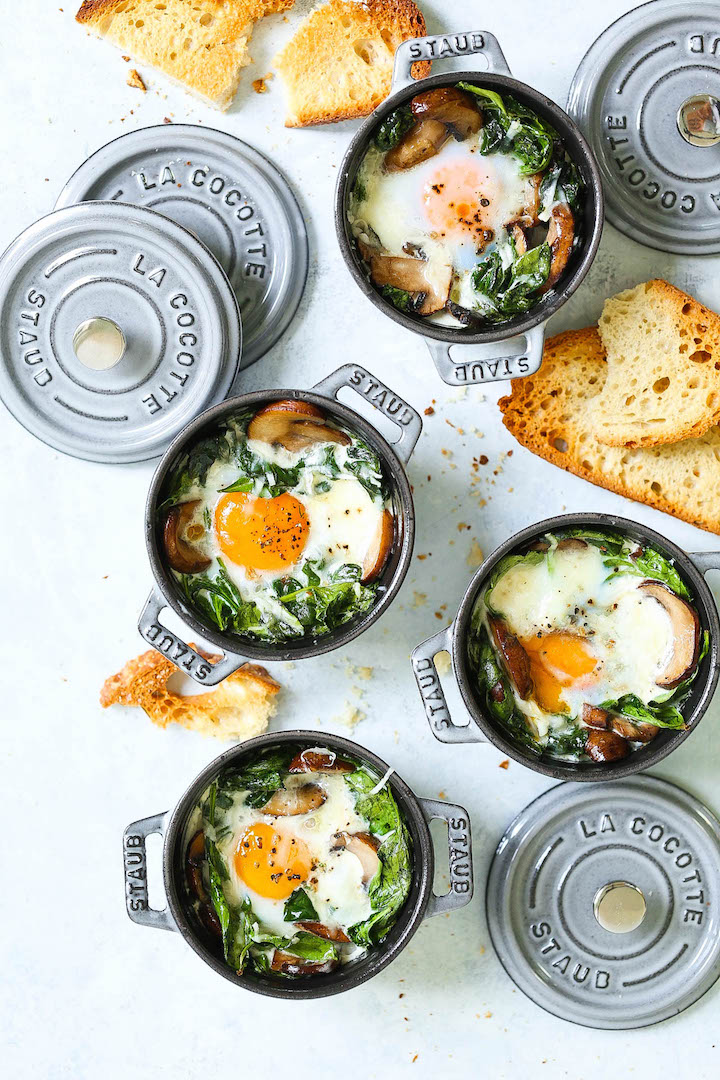 Baked Eggs With Mushrooms And Spinach Damn Delicious