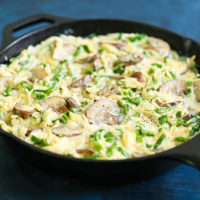 Creamy Mushroom Spinach Orzo