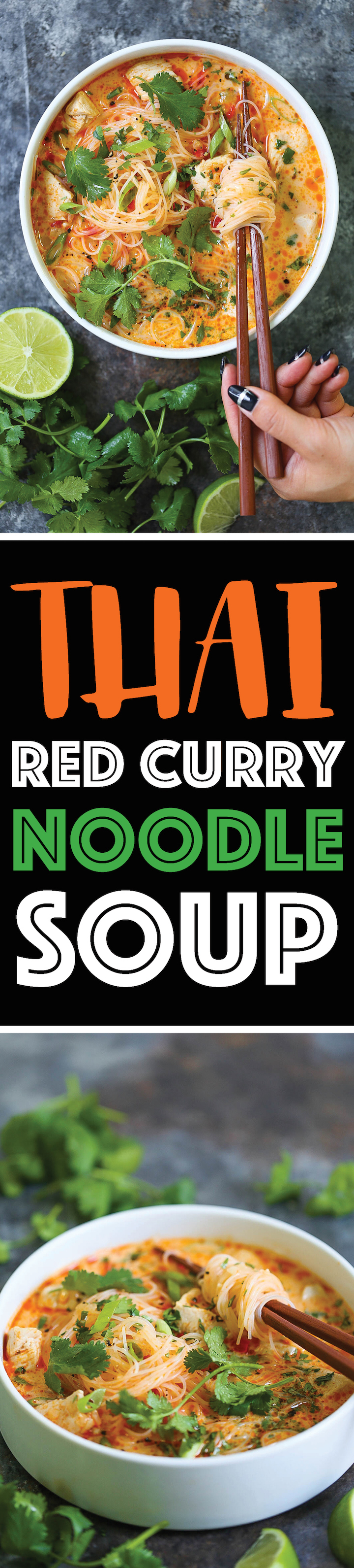 Thai Red Curry Noodle Soup - Yes, you can have Thai takeout right at home! This soup is packed with so much flavor with bites of tender chicken, rice noodles, cilantro, basil and lime juice! So cozy, comforting and fragrant - plus, it's easy enough for any night of the week!
