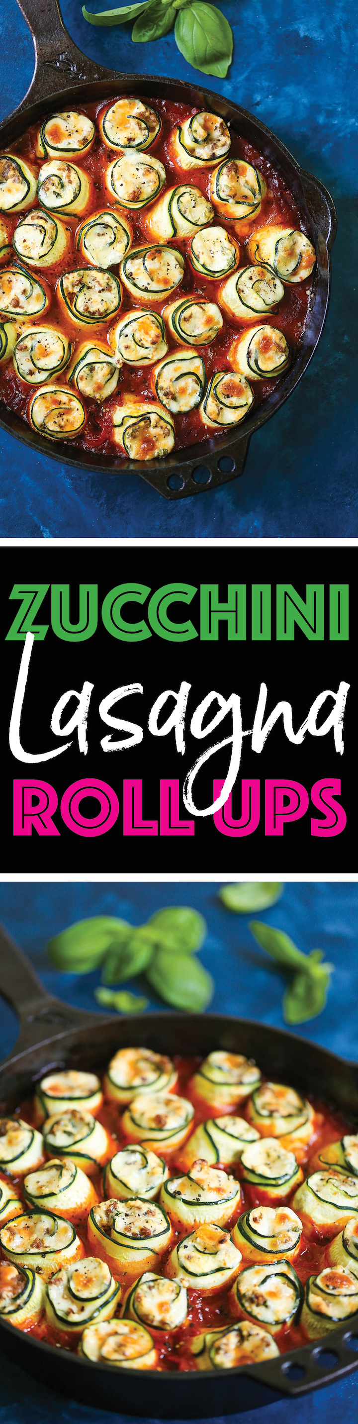 Zucchini Lasagna Roll Ups - Swap out the lasagna noodles for zucchini - it's LOW CARB and you won't miss the noodles at all! I promise! You can even make this ahead of time - perfect for feeding a crowd or for packing leftovers for work the next day!