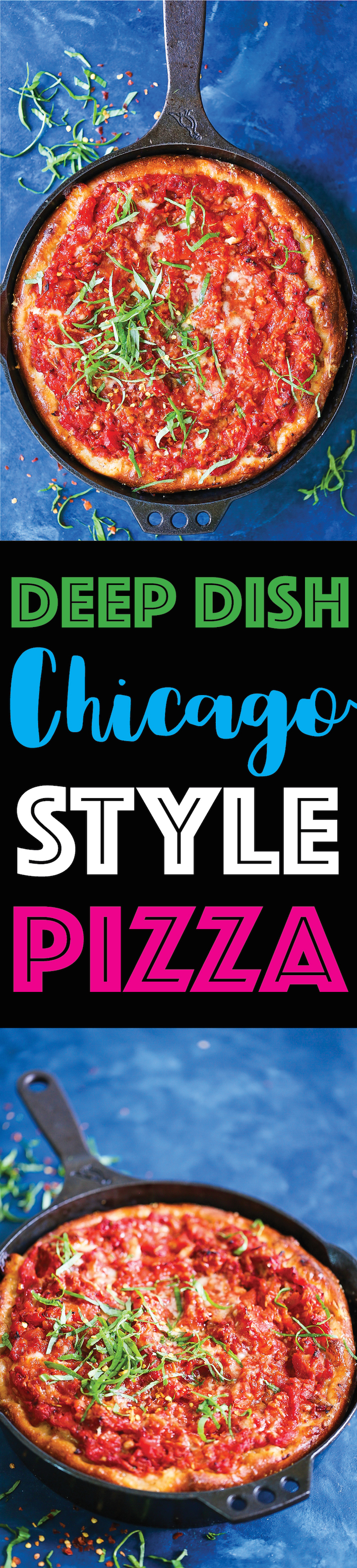 Deep Dish Chicago Style Pizza - Now you don't have to go all the way to Chicago for a deep dish pizza! The crust is perfectly golden brown, the chunky tomato sauce is completely homemade, and a fresh layer of ooey gooey mozzarella cheese is simply the best combination ever!