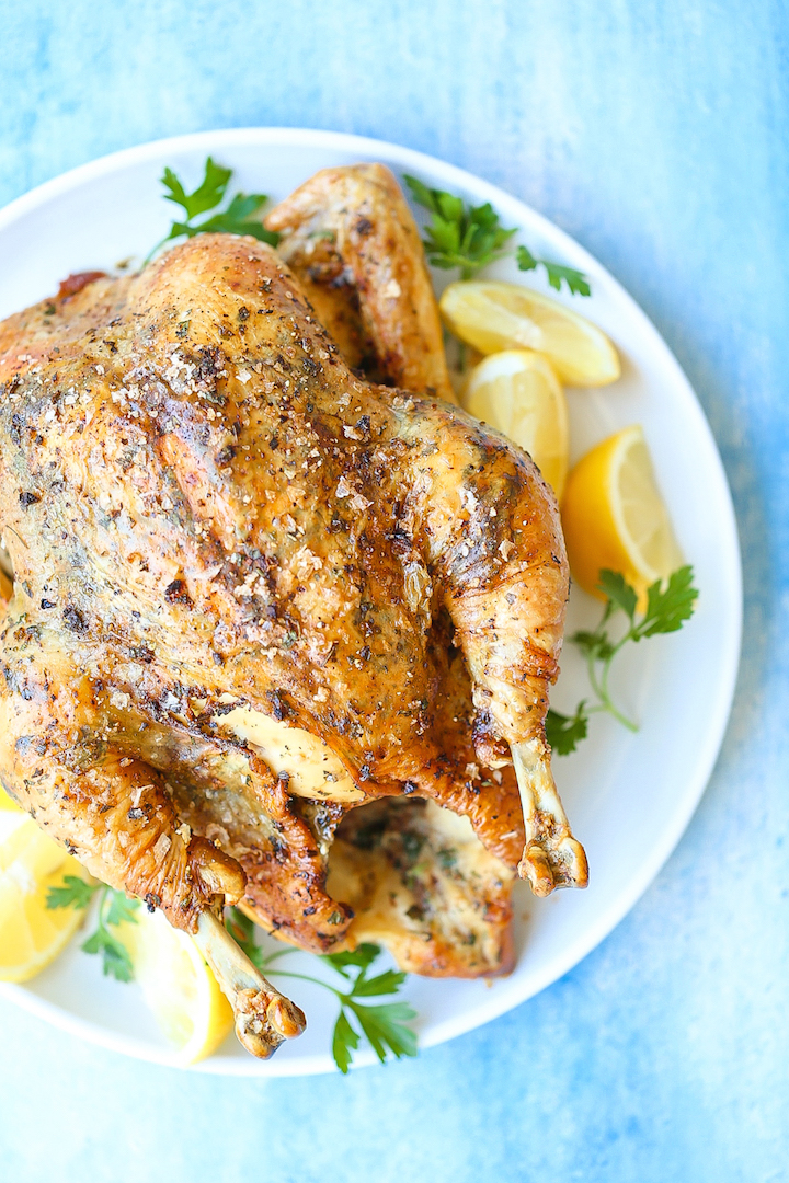Lemon Herb Roasted Chicken - The PERFECT roasted chicken! All you need is 6 ingredients for the easiest recipe ever! So amazingly juicy with crispy skin!