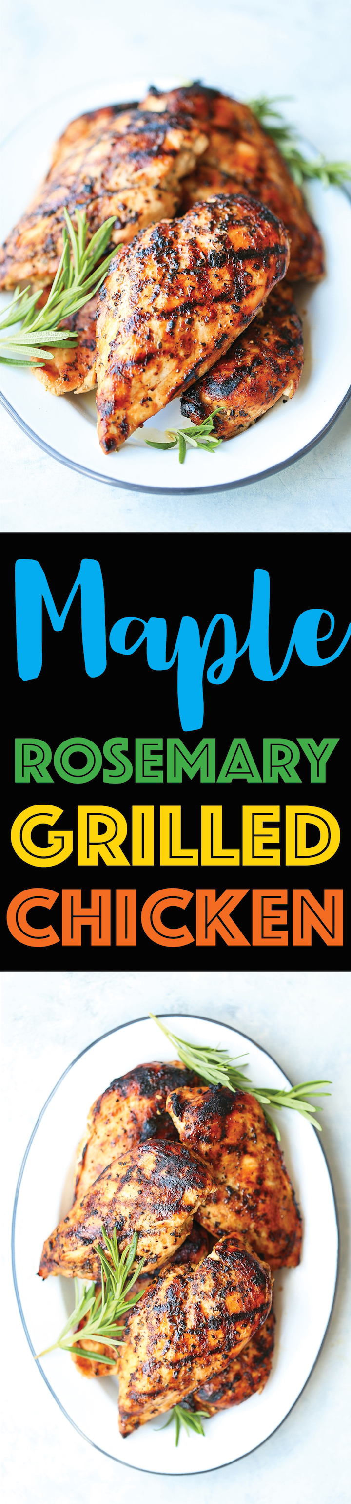 Maple Rosemary Grilled Chicken - Truly the best grilled chicken ever! It's wonderfully sweet and savory with just so much flavor with the simplest marinade!