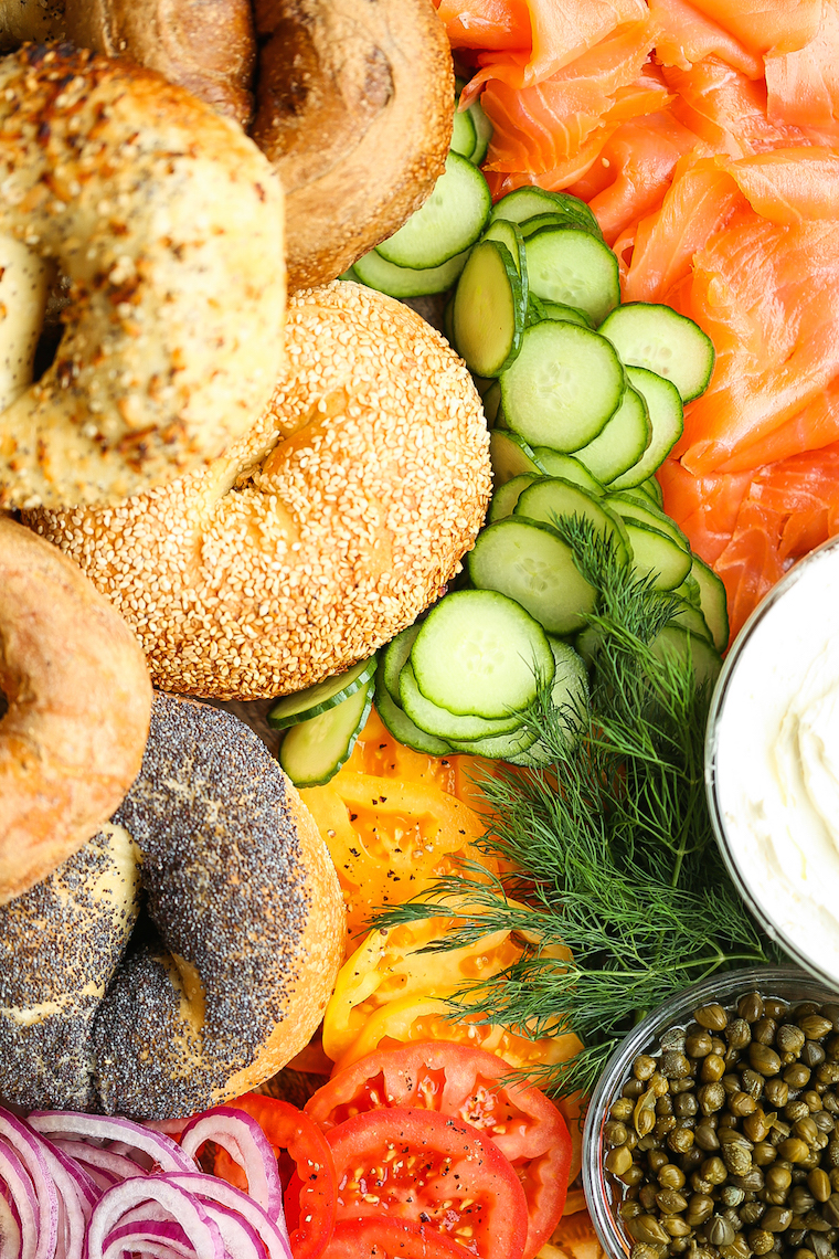 Smoked Salmon Bagel Bar - How to set up the most perfect (yet easiest!) bagel bar! Perfect for brunches and get-togethers! Everyone will be so impressed!
