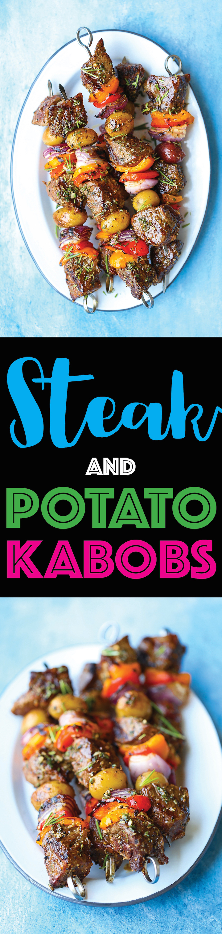 Steak and Potato Kabobs - Everyone's favorite summer meal! The meat comes out so amazingly tender and flavorful with the fresh garlicky-herb mixture!