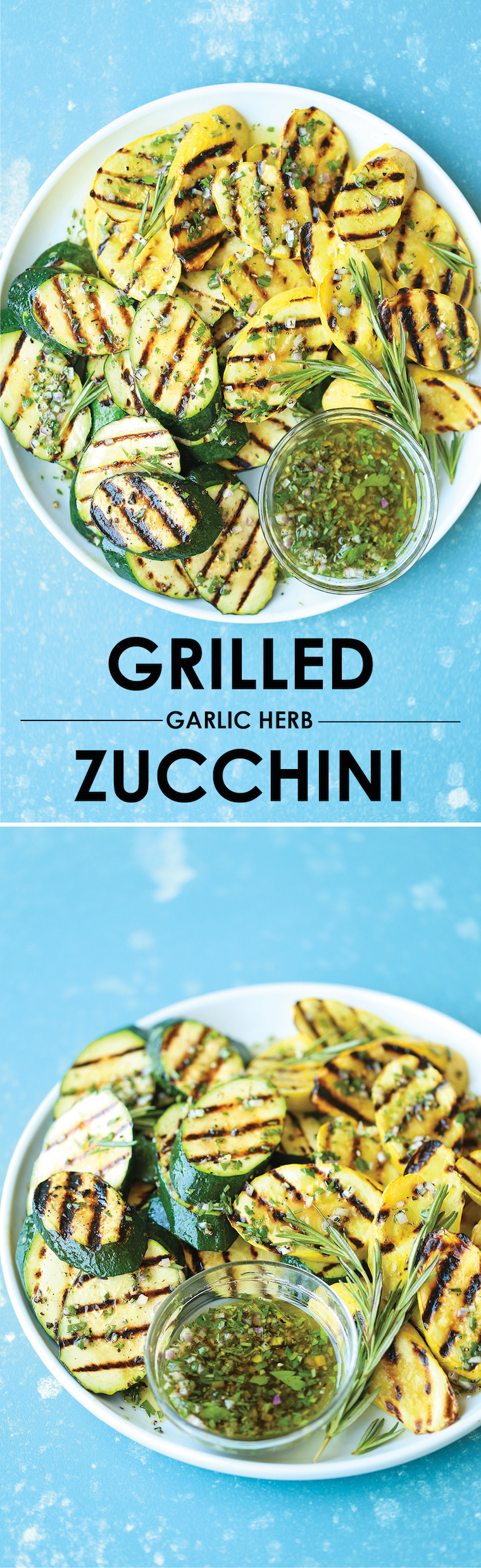 Grilled Garlic Herb Zucchini -An easy peasy summertime staple! The zucchini comes out perfectly garlicky, fresh, and crisp-tender – so simple yet so good!