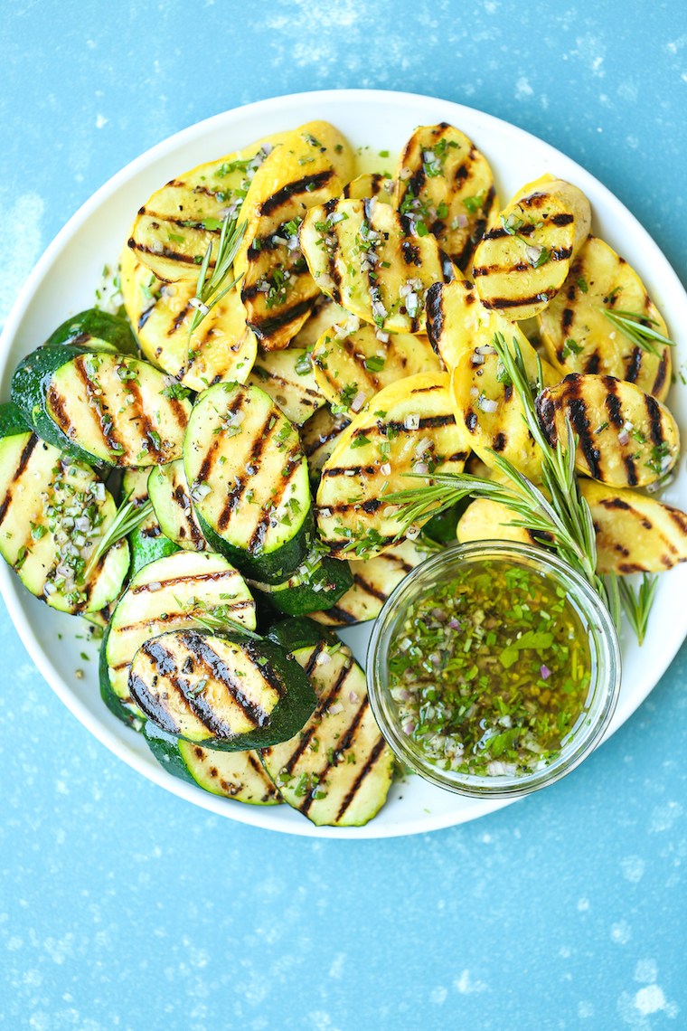 Grilled Garlic Herb Zucchini - An easy peasy summertime staple! The zucchini comes out perfectly garlicky, fresh, and crisp-tender - so simple yet so good!