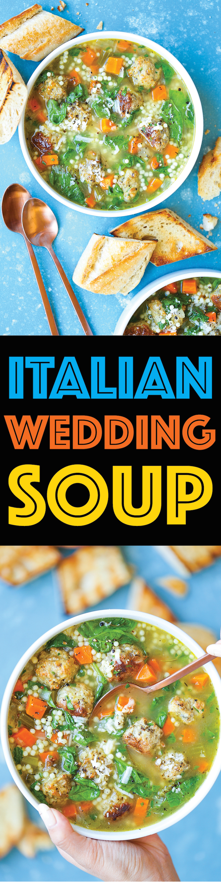 Italian Wedding Soup - Made with the most perfectly tender, juicy, chicken meatballs! So hearty and flavorful. Not to mention, it's simple, quick and easy!