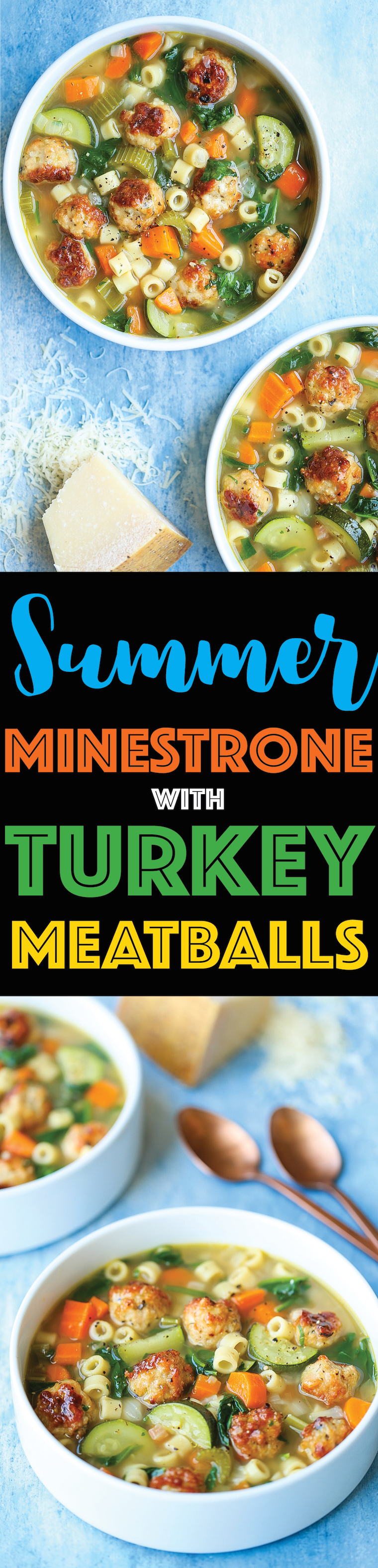 Summer Minestrone with Turkey Meatballs - A hearty soup with all of your favorite vegetables! It's fresh, it's warm and it's so cozy even in the summertime!