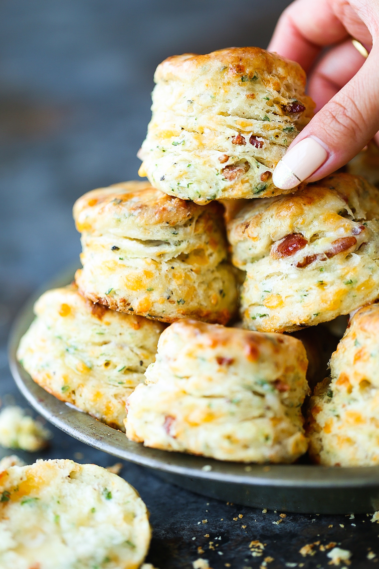 Black Pepper Cheddar Bacon Biscuits - So flaky, fluffy and buttery! With crisp bacon bits, sharp cheddar, black pepper + garlic. These are simply THE BEST!