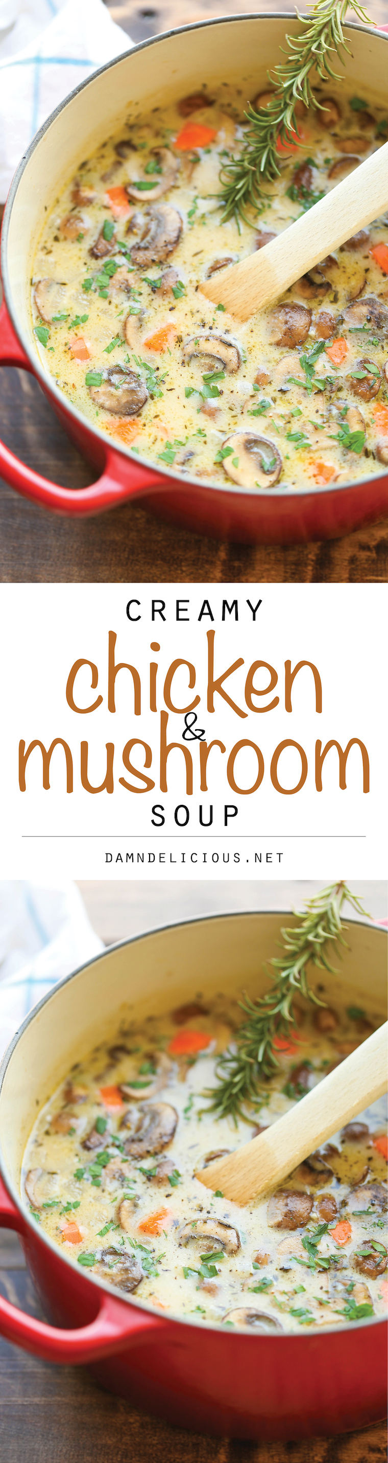 Creamy Chicken Mushroom Soup - So cozy, so comforting and just so creamy. Best of all, this is made in 30 min from start to finish – so quick and easy!