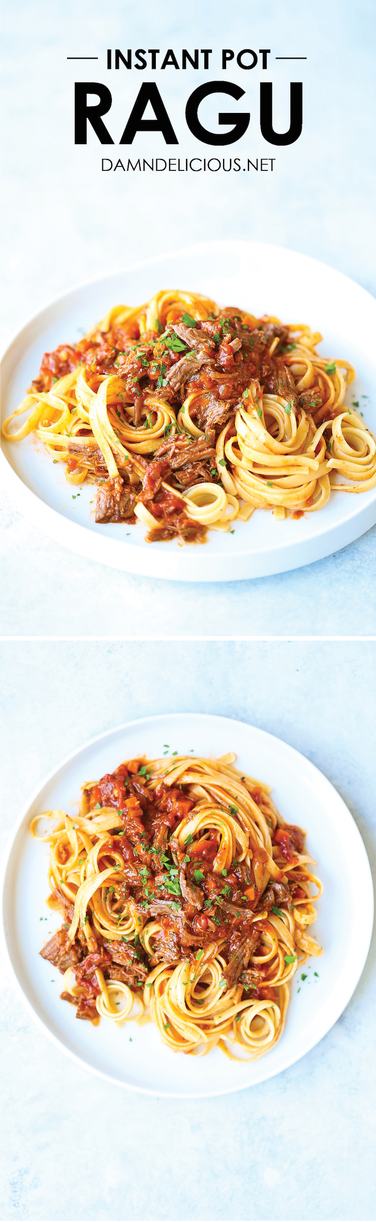 Instant Pot Ragu - The most tender beef ragu you can make in just a fraction of the time! The beef simply melts in your mouth and the sauce is so hearty!