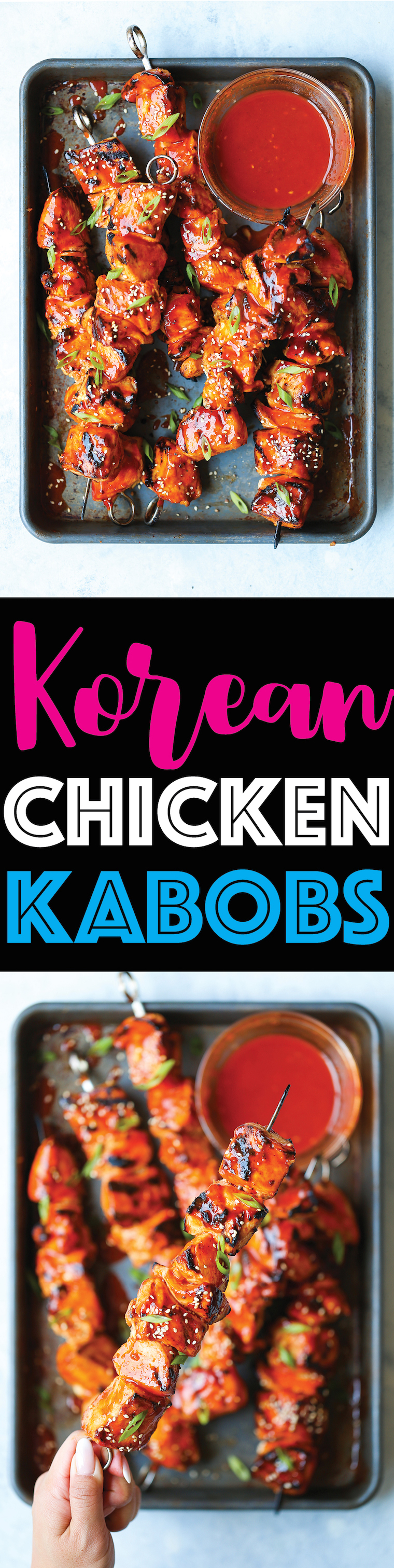 Korean Chicken Kabobs - An amazing combination of sweet and spicy! And the chicken comes out perfectly tender and juicy with a finger-licking sticky glaze!