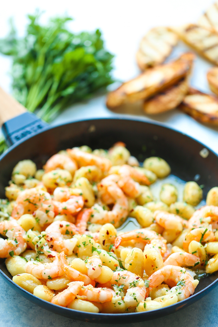 Shrimp Scampi Gnocchi - Ready in less than 30 min with perfectly golden-brown gnocchi and sauteed shrimp! So buttery, so garlicky, and just so quick + easy!