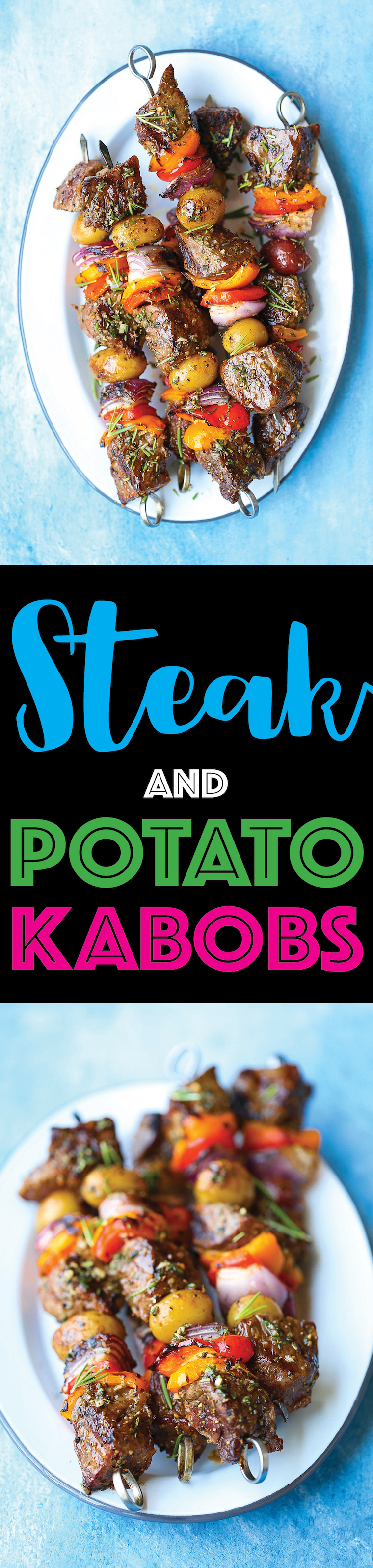 Steak and Potato Kabobs -Everyone's favorite summer meal! The meat comes out so amazingly tender and flavorful with the fresh garlicky-herb mixture!